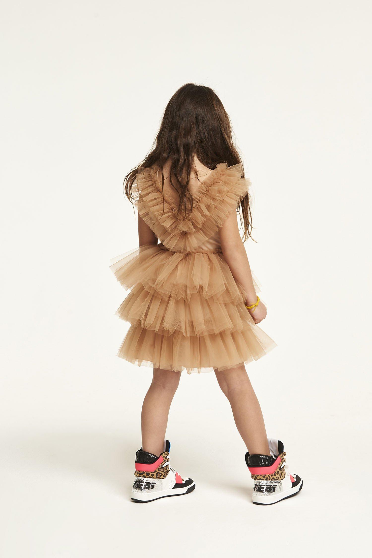 ROUCHES TULL DRESS - GIRL