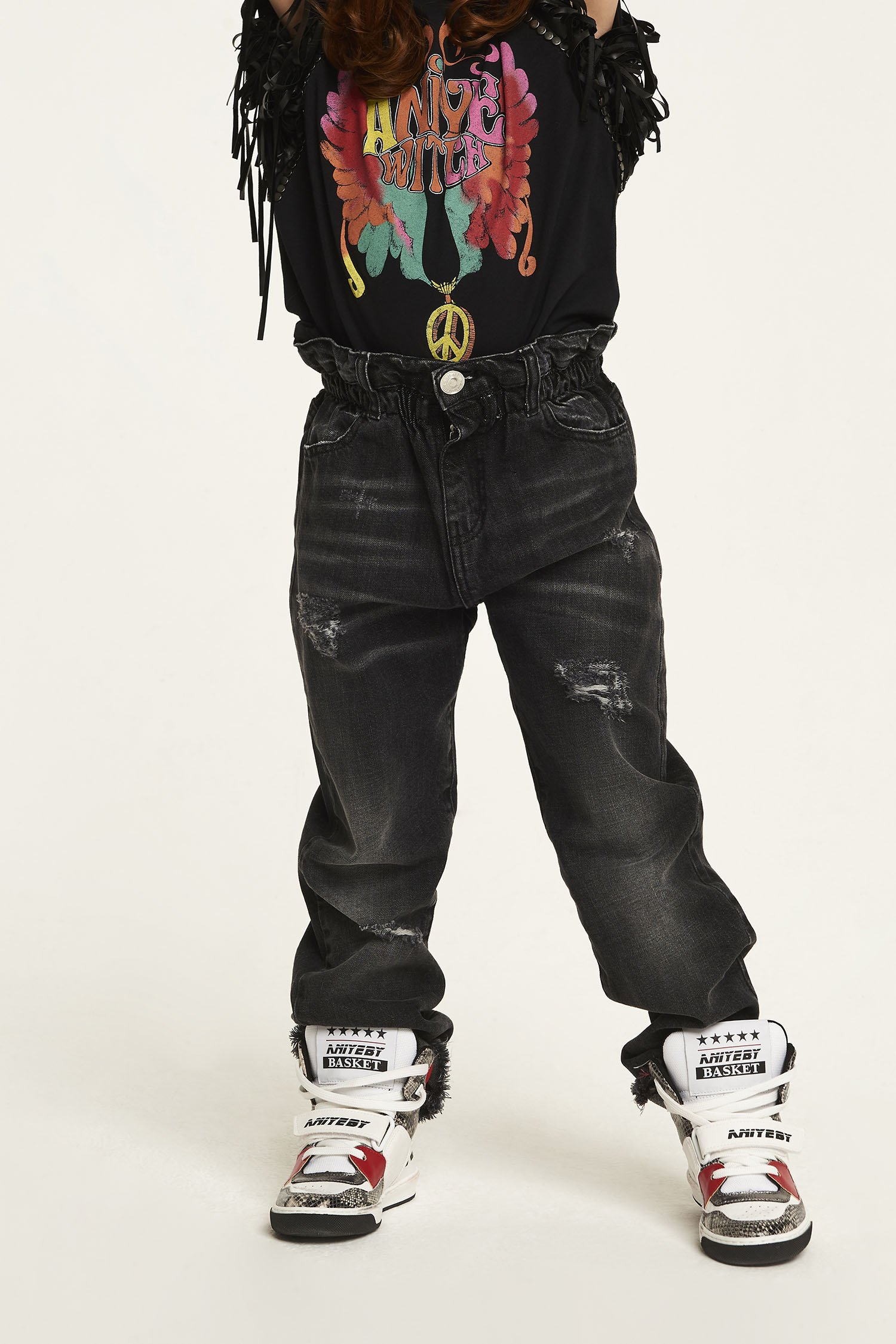 RUFFLE DENIM BLACK - GIRL